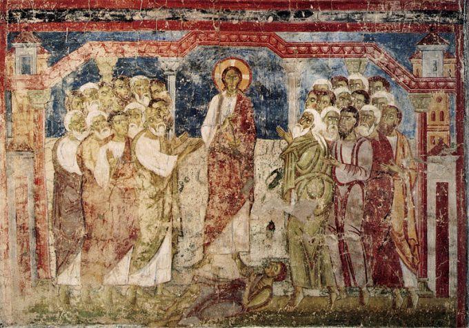Esorcismo-nella-sinagoga-in-un-affresco-dellundicesimo-secolo.