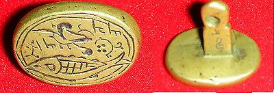 Antico-Sigillo-Bronzo-Persia-Con-Pesce-Segno-Cristiano