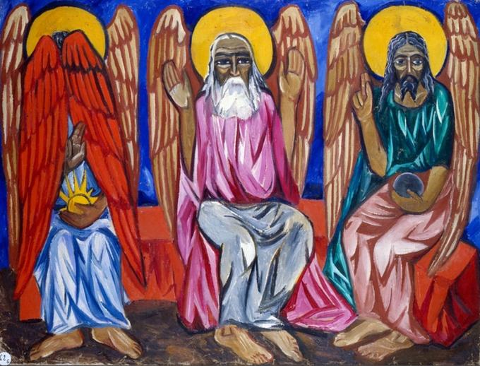 Natal'ja-Gončarova-Trinità.-Composizione-religiosa-1910.-Mosca-The-State-Tretyakov-Gallery